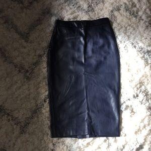 Zara Vegan Leather Pencil Skirt Navy ♥️sold out♥️
